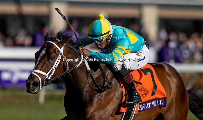 November 6, 2020: Fire At Will, Biden by Ricardo Santana jr wins the  Breeders' Cup Juvenile Turf at Keeneland Racetrack in Lexington, Kentucky on November 6, 2020. Alex Evers/Eclipse Sportswire/Breeders Cup
