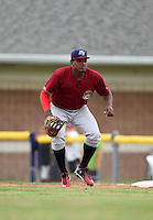 Mahoning Valley Scrappers first baseman Emmanuel Tapia (6) during a game against the Batavia Muckdogs on June 22, 2015 at Dwyer Stadium in Batavia, New York.  Mahoning Valley defeated Batavia 15-11.  (Mike Janes/Four Seam Images)