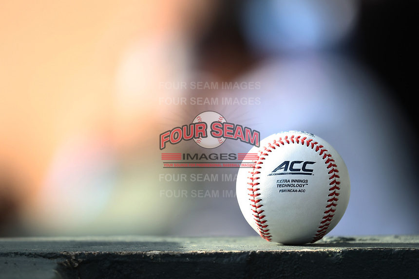 A Rawlings ACC baseball sits on a wall prior to the NCAA baseball game between the Duke Blue Devils and the North Carolina Tar Heels at Boshamer Stadium on April 9, 2021 in Chapel Hill, North Carolina. (Andy Mead/Four Seam Images)