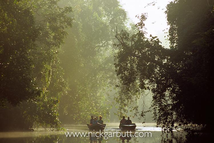 Tourist wildlife watching just after dawn. Menanggol River, Kinabatangan, Sabah, Borneo.