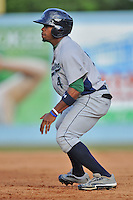 Lexington Legends second baseman Delino DeShields Jr. #4 leads off first during a game against the Asheville Tourists at McCormick Field on May 5, 2012 in Asheville, North Carolina . The Legends defeated the Tourists 5-1. (Tony Farlow/Four Seam Images).