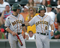 Baylor Bears Gregg Glime (13) and Shaver Hansen (8) walk back to the dugout after scoring against Texas on May 3rd, 2008. Photo by Andrew Woolley / Four Seam Images