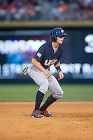 Ryan Howard (8) of the US Collegiate National Team takes his lead off of second base against the Cuban National Team at BB&T BallPark on July 4, 2015 in Charlotte, North Carolina.  The United State Collegiate National Team defeated the Cuban National Team 11-1.  (Brian Westerholt/Four Seam Images)