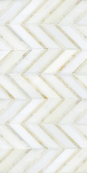Raj shown in honed Paperwhite and polished Cloud Nine is part of New Ravenna's Studio Line of ready to ship mosaics.