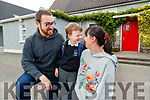 Barry and Mary Cullen, pictured with their son Odhran, attending his first day of school at Scoil Nuachabháil, Ballymacelligott, on Wednesday morning last.