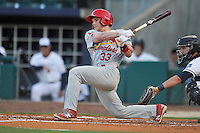 Springfield Cardinals Harrison Bader (33) swings during the game against the Northwest Arkansas Naturals at Arvest Ballpark on May 3, 2016 in Springdale, Arkansas.  Springfield won 5-1.  (Dennis Hubbard/Four Seam Images)
