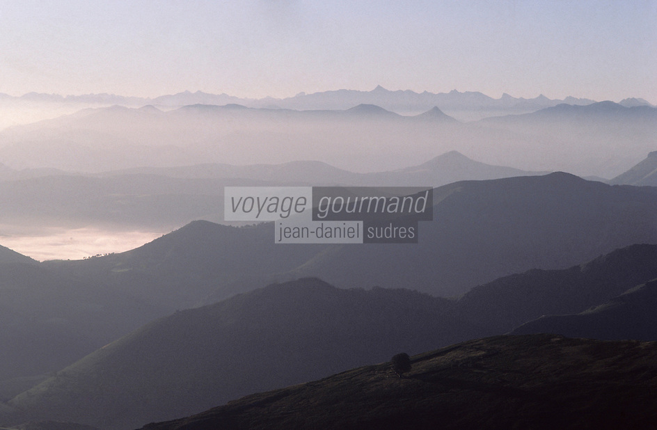 Europe/France/Aquitaine/64/Pyrénées-Atlantiques/Parc National des Pyrénées/Pic d'Atzamendi: Panorama