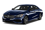 2018 Mercedes Benz CLA-Class CLA250 4 Door Sedan Angular Front stock photos of front three quarter view