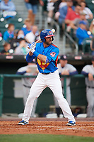 Buffalo Bisons third baseman Jason Leblebijian (9) at bat during a game against the Gwinnett Braves on August 19, 2017 at Coca-Cola Field in Buffalo, New York.  The Bisons wore special Superhero jerseys for Superhero Night.  Gwinnett defeated Buffalo 1-0.  (Mike Janes/Four Seam Images)