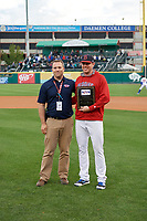 Buffalo Bisons pitcher Murphy Smith (35) is presented with the teams Most Valuable Pitcher Award before a game against the Pawtucket Red Sox on August 31, 2017 at Coca-Cola Field in Buffalo, New York.  Buffalo defeated Pawtucket 4-2.  (Mike Janes/Four Seam Images)