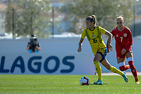 20200307  Lagos , Portugal : Swedish Filippa Angelda (16) , Danish midfielder Sanne Troelsgaard (7) pictured during the female football game between the national teams of Sweden and Denmark on the second matchday of the Algarve Cup 2020 , a prestigious friendly womensoccer tournament in Portugal , on saturday 7 th March 2020 in Lagos , Portugal . PHOTO SPORTPIX.BE | STIJN AUDOOREN