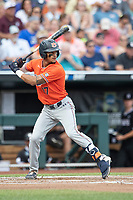 Auburn Tigers shortstop Will Holland (17) at bat during Game 4 of the NCAA College World Series against the Mississippi State Bulldogs on June 16, 2019 at TD Ameritrade Park in Omaha, Nebraska. Mississippi State defeated Auburn 5-4. (Andrew Woolley/Four Seam Images)