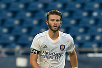 FOXBOROUGH, MA - AUGUST 7: Owen Guske #50 of Orlando City B during a game between Orlando City B and New England Revolution II at Gillette Stadium on August 7, 2020 in Foxborough, Massachusetts.