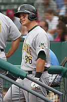 Catcher Devin Mesoraco #36 of the Lynchburg Hillcats on the steps of the dugout preparing to bat during a game against the Myrtle Beach Pelicans at BB&T Coastal Field on May 26, 2010 in Myrtle Beach. Photo by Robert Gurganus/Four Seam Images.
