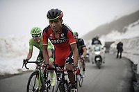 fellow Colombians John Darwin Atapuma (COL/BMC) & Rigoberto Uran (COL/Cannondale) side by side up the snow-covered Colle dell'Agnello (2744m)<br /> <br /> stage 19: Pinerolo(IT) - Risoul(FR) 162km<br /> 99th Giro d'Italia 2016