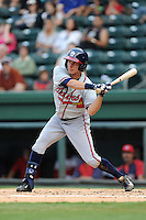 Center fielder Kyle Wren (15) of the Rome Braves bats in a game against the Greenville Drive on Tuesday, August 20, 2013, at Fluor Field at the West End in Greenville, South Carolina. Rome won, 4-2. Wren was an eighth-round pick out of Georgia Tech by the Atlanta Braves in the 2013 First-Year Player Draft. (Tom Priddy/Four Seam Images)