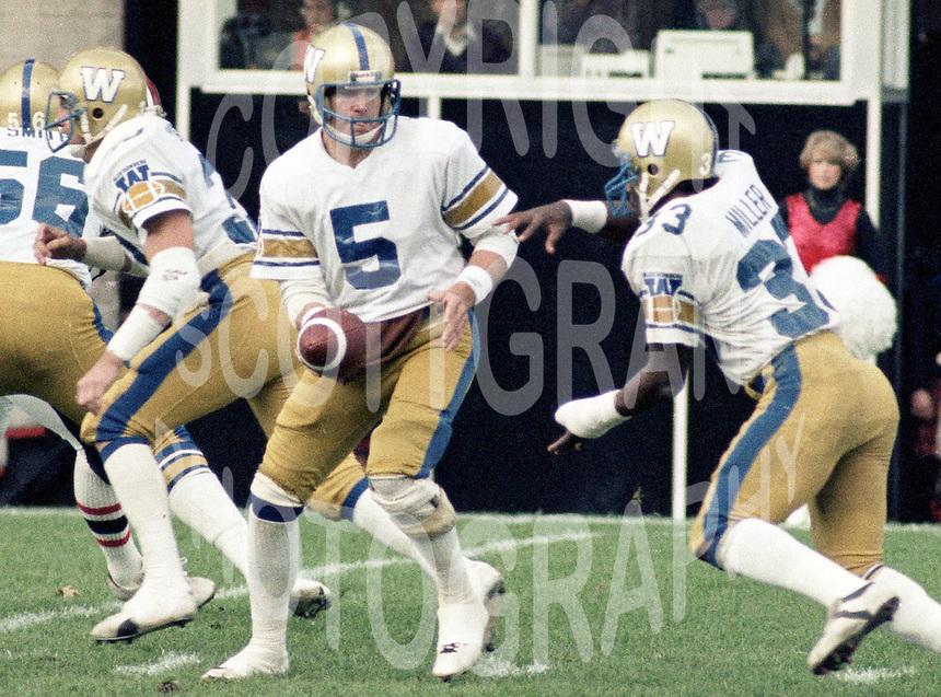Ralph Dieter Brock Winnipeg Blue Bombers quarterback 1982. Copyright photograph Scott Grant