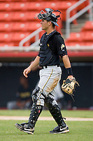 Catcher Tony Sanchez #29 of the West Virginia Power walks to the mound to talk to his pitcher at L.P. Frans Stadium August 9, 2009 in Hickory, North Carolina. (Photo by Brian Westerholt / Four Seam Images)