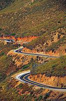 WINDING ROAD APPROACHING ENTRANCE TO YOSEMITE VALLEY. HIGHWAY, DANGER, TREACHEROUS, CURVE. CALIFORNIA USA YOSEMITE NATIONAL PARK.