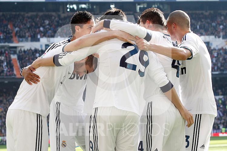 Real Madrid's Karim Benzema, Raphael Varane, Alvaro Morata, Sergio Ramos and Pepe celebrate goal during La Liga match.March 02,2013. (ALTERPHOTOS/Acero)