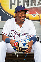 Northwest Arkansas Naturals outfielder Khalil Lee (24) poses for a photo on May 1, 2019, at Arvest Ballpark in Springdale, Arkansas. (Jason Ivester/Four Seam Images)