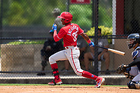 Philadelphia Phillies Jefferson Encarnacion (35) bats during an Extended Spring Training game against the New York Yankees on June 22, 2021 at the Carpenter Complex in Clearwater, Florida. (Mike Janes/Four Seam Images)