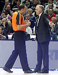 Real Madrid's coach Pablo Laso have words with the referee during Euroleague match.February 5,2015. (ALTERPHOTOS/Acero)