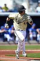 Vanderbilt Commodores infielder Zander Wiel (43) runs to first during a game against the Indiana State Sycamores on February 21, 2015 at Charlotte Sports Park in Port Charlotte, Florida.  Indiana State defeated Vanderbilt 8-1.  (Mike Janes/Four Seam Images)