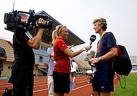 USWNT head coach Pia Sundhage talks to the media following practice at Beijing Normal University in preparation for the Olympic gold medal game at Workers' Stadium in Beijing, China.