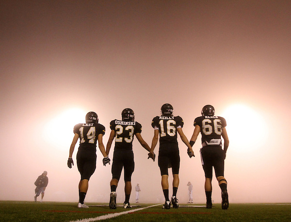 Z.ValleyCenter.1RAW.1015.jl.jpg/photo Jamie Scott Lytle/Valley Center Team Captians, David Last, Taylor Olshinski, Beau Reilly and Stehly Reden held out to meet San Marcos High School's Captains during a very foggy night in Valley Center