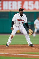 Rochester Red Wings third baseman Jermaine Curtis (11) during a game against the Pawtucket Red Sox on May 19, 2018 at Frontier Field in Rochester, New York.  Rochester defeated Pawtucket 2-1.  (Mike Janes/Four Seam Images)