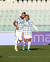 Football Soccer: Tim Cup Round of 16 Fiorentina - FC Internazionale Milano, Artemio Franchi  stadium, Florence, January 13, 2021. <br /> Inter's Arturo Vidal (l) celebrates after scoring with his teammate Alexis Sanchez (r) during the Italian Tim Cup football match between Fiorentina and Inter at Florence's Artemio Franchi stadium, on January 13, 2021.  <br /> UPDATE IMAGES PRESS/Isabella Bonotto