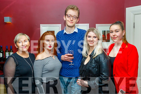 Attending the book launch by Anna O'Doherty last Saturday night in O'Donnell's bar, Tralee were L-R Marie Sweeney, Meaghan Ní Raghlaigh, Sam Geoghegan, Ellen O'Doherty and Alex Redlich.