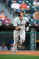 Norfolk Tides left fielder Mike Yastrzemski (3) watches a home run as he runs to first during a game against the Buffalo Bisons on July 18, 2016 at Coca-Cola Field in Buffalo, New York.  Norfolk defeated Buffalo 11-8.  (Mike Janes/Four Seam Images)