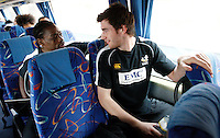 Photo: Richard Lane/Richard Lane Photography. London Wasps in Abu Dhabi for their LV= Cup game against Harlequins on 30th January 2011. 01/02/2011. Wasps' Serege Betsen and Mark Atkinson on the coach to the airport.