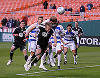 DC United defender Bryan Namoff (26) heads the ball during a free kick.  DC United defeated FC Dallas 2-0 in the first home game of the US. Open Cup title at RFK Stadium, Wednesday April 22, 2009.