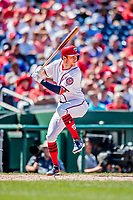 23 August 2018: Washington Nationals shortstop Trea Turner in action against the Philadelphia Phillies at Nationals Park in Washington, DC. The Phillies shut out the Nationals 2-0 to take the 3rd game of their 3-game mid-week divisional series. Mandatory Credit: Ed Wolfstein Photo *** RAW (NEF) Image File Available ***