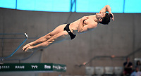Great Britain's Daniel Goodfellow competes in the Men's 3m Springboard Semifinal A<br /> <br /> Photographer Hannah Fountain/CameraSport<br /> <br /> FINA/CNSG Diving World Series 2019 - Day 2 - Saturday 18th May 2019 - London Aquatics Centre - Queen Elizabeth Olympic Park - London<br /> <br /> World Copyright © 2019 CameraSport. All rights reserved. 43 Linden Ave. Countesthorpe. Leicester. England. LE8 5PG - Tel: +44 (0) 116 277 4147 - admin@camerasport.com - www.camerasport.com