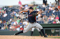 Starting pitcher Bryse WIlson (52) of the Rome Braves delivers a pitch in a game against the Greenville Drive on Sunday, August 13, 2017, at Fluor Field at the West End in Greenville, South Carolina. Greenville won, 2-1. (Tom Priddy/Four Seam Images)