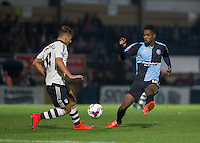 Jason Banton of Wycombe Wanderers shuts down Alex Kacaniklic of Fulham during the Capital One Cup match between Wycombe Wanderers and Fulham at Adams Park, High Wycombe, England on 11 August 2015. Photo by Andy Rowland.