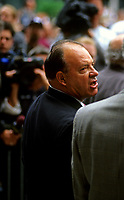 May 31 2000 file Photo - Scotty Bowman, former coach of Montreal CANADIENS hockey team attend the funerals of Maurice Richard held at Notre-Dame Basilica in Montreal.