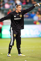 LA Galaxy goalkeeper Josh Saunders barking out directions. LA Galaxy defeated the Colorado Rapids 3-2 at Home Depot Center stadium in Carson, California on Sunday October 12, 2008. Photo by Michael Janosz/isiphotos.com