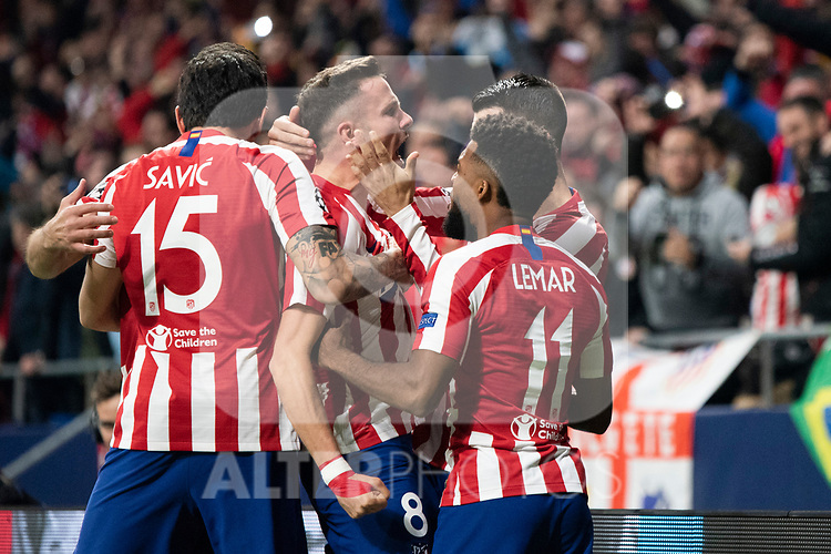 MADRID, SPAIN - FEBRUARY 18:  Saul Niguez of Atletico de Madrid celebrates a goal during the UEFA Champions League football match, round 16, played between Atletico de Madrid and Liverpool FC at Wanda Metropolitano stadium on February 18, 2020 in Madrid, Spain.<br /> (ALTERPHOTOS/David Jar)