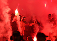 16.05.2018,  Football UEFA Europa-League Finale 2018, Olympique Marseille - Atletico Madrid, Parc Olympique Lyonnais. Pyro im fans of  of  Marseille *** Local Caption *** © pixathlon<br /> <br /> Contact: +49-40-22 63 02 60 , info@pixathlon.de