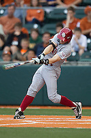 Oklahoma Sooners outfielder Hunter Haley #4 swings the bat against the Texas Longhorns in the NCAA baseball game on April 5, 2013 at UFCU DischFalk Field in Austin Texas. Oklahoma defeated Texas 2-1. (Andrew Woolley/Four Seam Images).