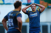 6th February 2021; Mattoli Woods Welford Road Stadium, Leicester, Midlands, England; Premiership Rugby, Leicester Tigers versus Worcester Warriors; Anton Bresler of Worcester Warriors rues a missed opportunity after his team concede a penalty