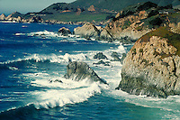 Big Sur coastline view showing rocks and Pacific Ocean. California, Big Sur.