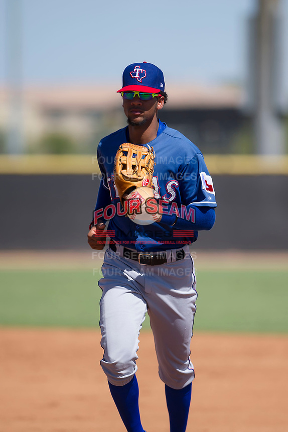 Texas Rangers outfielder Leody Taveras (37) jogs off the field between innings during an Instructional League game against the San Diego Padres on September 20, 2017 at Peoria Sports Complex in Peoria, Arizona. (Zachary Lucy/Four Seam Images)