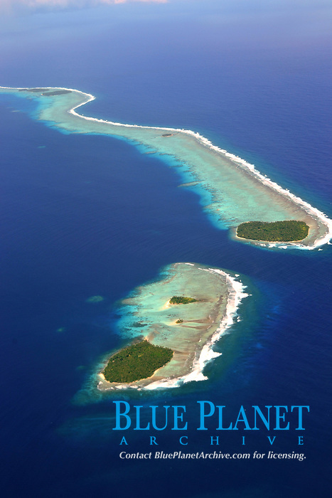 Aerial view of Micronesian atoll near Chuuk, Federated States of Micronesia, North Pacific Ocean