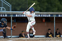Mac Starbuck (6) (Clemson) of the High Point-Thomasville HiToms at bat against the Statesville Owls at Finch Field on July 19, 2020 in Thomasville, NC. The HiToms defeated the Owls 21-0. (Brian Westerholt/Four Seam Images)